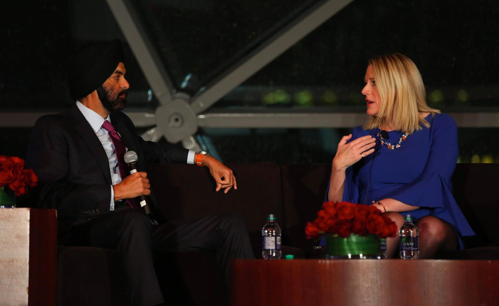 Mastercard CEO Ajay Banga and Chief Trade Commissioner of Canada Ailish Cambell